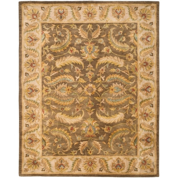 "Safavieh Handmade Heritage Timeless Traditional Green/ Beige Wool Rug - 8'3"" x 11'"