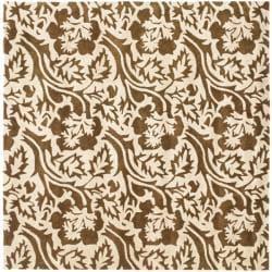 Safavieh Handmade Soho Brown/Ivory New Zealand Wool Floral Rug (6' Square)