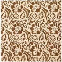 Safavieh Handmade Soho Brown/Ivory New Zealand Wool Floral Rug - 6' x 6' Square