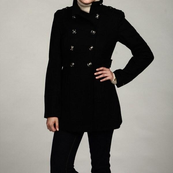 Buffalo Women&39s Black Wool Military Peacoat FINAL SALE - Free