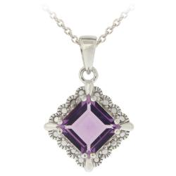 Glitzy Rocks Sterling Silver Amethyst and Diamond Square Necklace