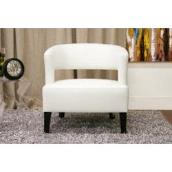 Lemoray Off-white Bonded Leather Modern Club Chair