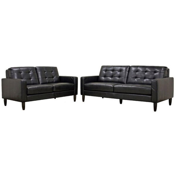 Caledonia Black Bonded Leather Modern Sofa and Loveseat Set