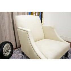 Heddery Cream Linen Modern Club Chair
