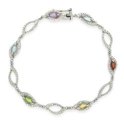 Glitzy Rocks Sterling Silver Multi-gemstone and Diamond Bracelet