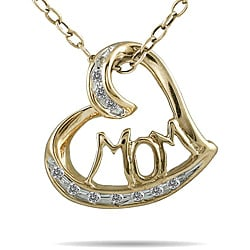 Marquee Jewels 10k Yellow Gold 1/8ct TDW White Diamond 'MOM' Heart Necklace (I-J, I1-I2)