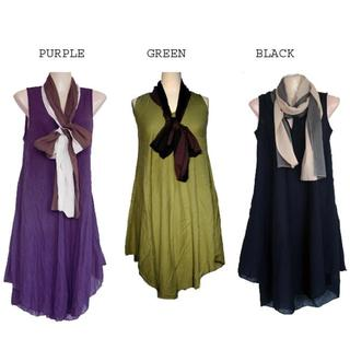 Women's Cotton Two-tone Dress and Scarf (Nepal)