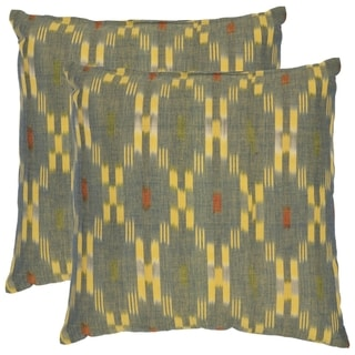 Safavieh Diamond Ikat 18-inch Grey/ Yellow Decorative Pillows (Set of 2)