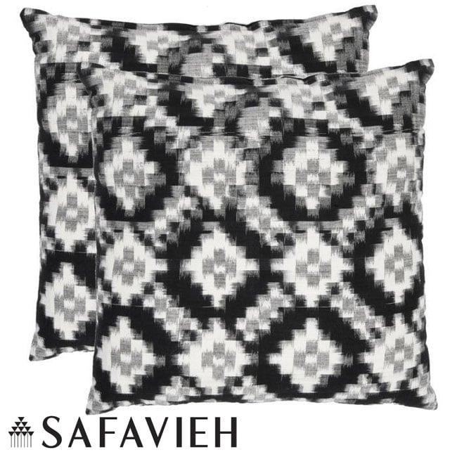 Safavieh Deco 18-inch Black/ White Decorative Pillows (Set of 2)