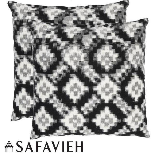 Safavieh Deco 22-inch Black/ White Decorative Pillows (Set of 2)