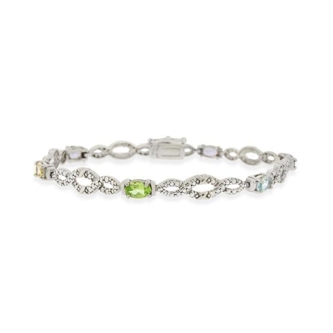 Glitzy Rocks Sterling Silver Multi-gemstone and Diamond Bracelet