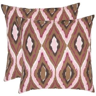 Safavieh Diamond Ikat 22-inch Brown/ Pink Decorative Pillows (Set of 2)