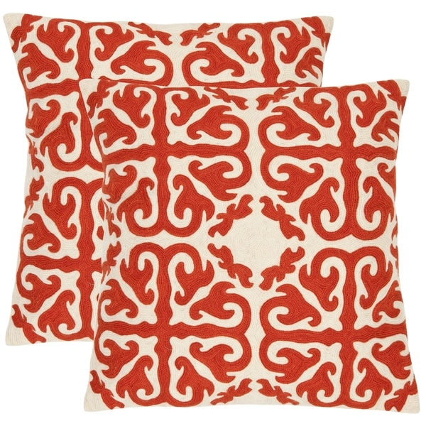 Safavieh Morrocan 18-inch Embroidered White/ Orange Decorative Pillows (Set of 2)