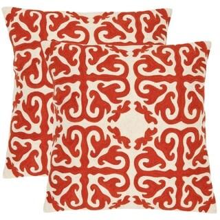 Safavieh Morrocan 18-inch Embroidered White/ Orange Decorative Pillows (Set of 2)