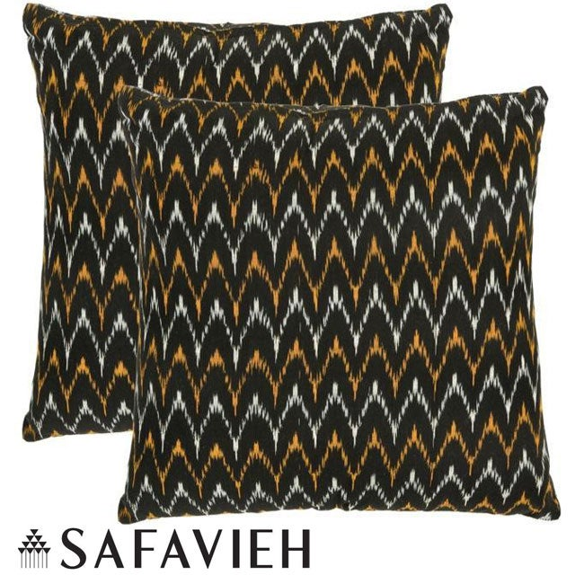 Safavieh Deco 18-inch Black/ Gold Decorative Pillows (Set of 2)