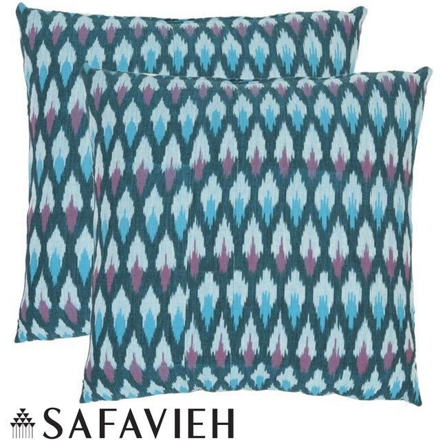 Safavieh Diamond Ikat 18-inch Blue Decorative Pillows (Set of 2)