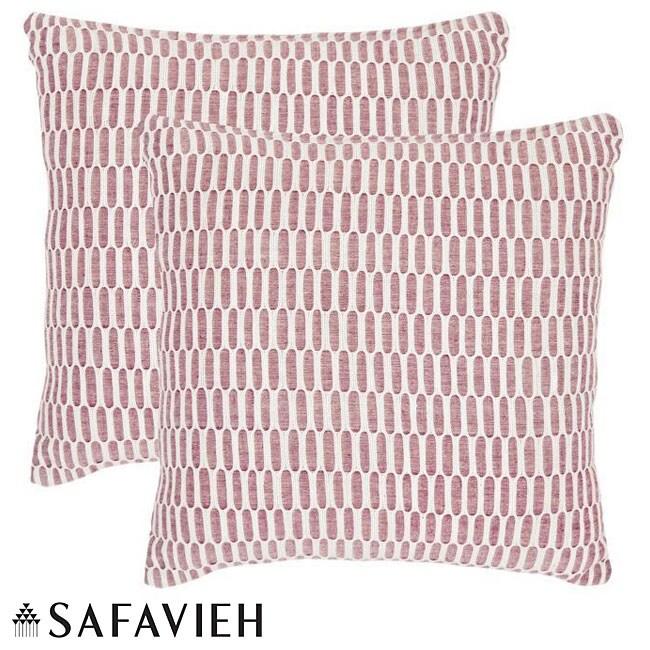 Safavieh Manhattan 18-inch Red/ Ivory Decorative Pillows (Set of 2)