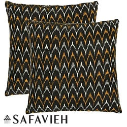 Safavieh Deco 22-inch Black/ Gold Decorative Pillows (Set of 2)