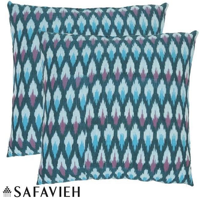 Safavieh Diamond Ikat 22-inch Blue Decorative Pillows (Set of 2)