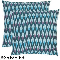 Safavieh Diamond Ikat 22-inch Blue Decorative Pillows (Set of 2)