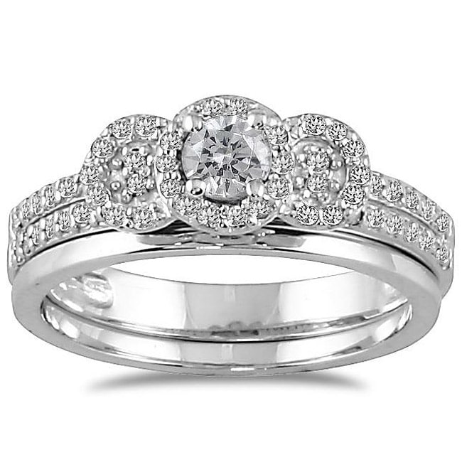 Marquee Jewels 10k White Gold 1/2ct TDW Diamond Halo Bridal Ring Set (I-J, I1-I2) - Thumbnail 0