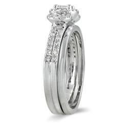 Marquee Jewels 10k White Gold 1/2ct TDW Diamond Halo Bridal Ring Set (I-J, I1-I2) - Thumbnail 1