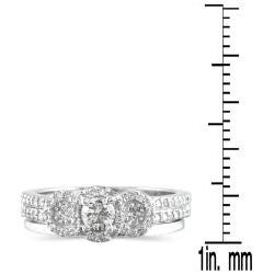 Marquee Jewels 10k White Gold 1/2ct TDW Diamond Halo Bridal Ring Set (I-J, I1-I2) - Thumbnail 2