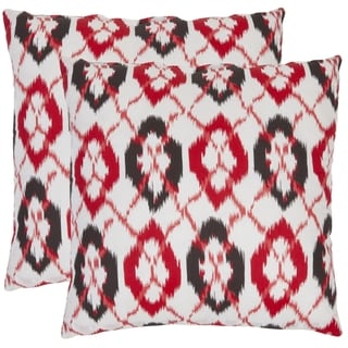 Safavieh Ikat 18-inch White/ Red Decorative Pillows (Set of 2)