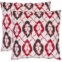 Safavieh Ikat 22-inch White/ Red Decorative Pillows (Set of 2)