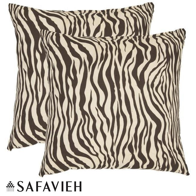 Safavieh Zebra 22-inch Ivory/ Brown Decorative Pillows (Set of 2)