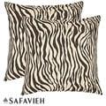Safavieh Zebra 22-inch Ivory/ Brown Decorative Pillows (Set of 2)