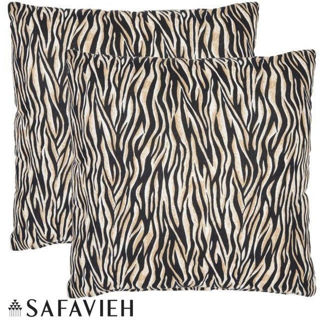 Safavieh Safari Zebra 22-inch Ivory/ Black Decorative Pillows (Set of 2) - Thumbnail 0