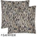 Safavieh Safari Zebra 22-inch Ivory/ Black Decorative Pillows (Set of 2)