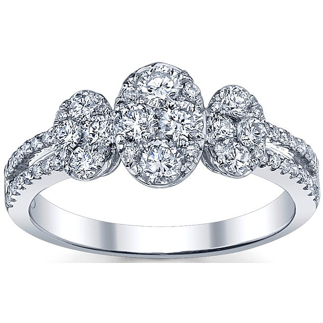 18k White Gold 1 1/10ct TDW Diamond Engagement Ring (G-H, SI1-SI2)