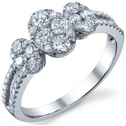 18k White Gold 1 1/10ct TDW Diamond Engagement Ring (G-H, SI1-SI2) - Thumbnail 1