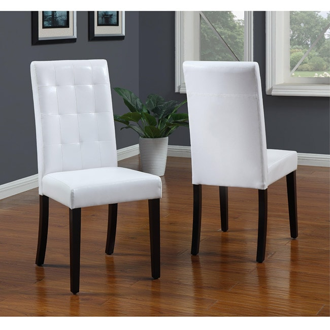 Shop Tufted White Parsons Chair Set Of 2 Free Shipping
