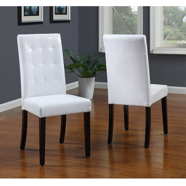 Tufted White Parsons Chair (Set of 2) - Thumbnail 0