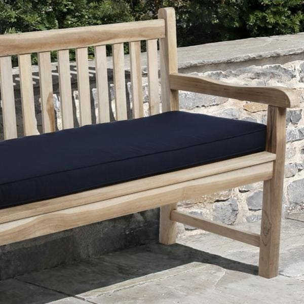 Clara Indoor/ Outdoor Navy Blue Bench Cushion made with Sunbrella ...