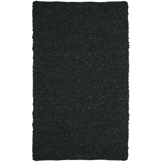 Hand-tied Pelle Short Shag Black Leather Rug (5' x 8')