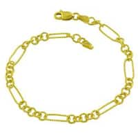 Fremada 14k Yellow Gold 7.5-inch Fancy Textured Link Bracelet