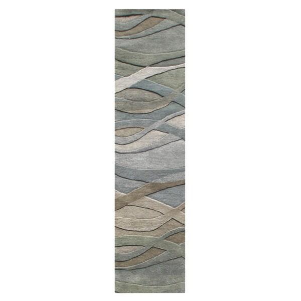 Alliyah Handmade Silver Grey, Highlight Grey/Green, and Light Rust New Zeeland Blend Wool Area Rug (2' x 8') - 2' x 8'