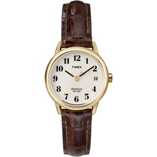 Timex T20071 Women's Easy Reader Brown Leather Watch