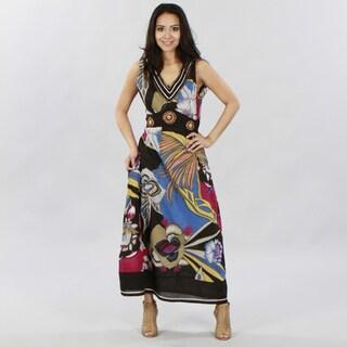 Meetu Magic Women's V-neck Empire-Waist Sleeveless Maxi Dress