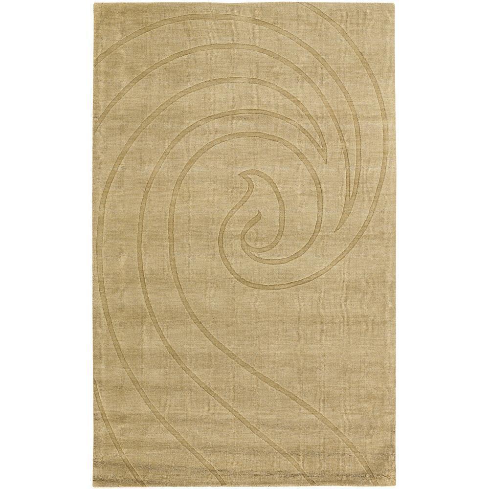Hand-Tufted Mandara Gold Wave New Zealand Wool Rug (9' x 13')