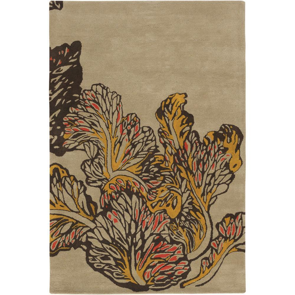 Artist's Loom Hand-tufted Transitional Floral Wool Rug - 5' x 7'6""