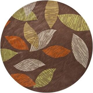 Contemporary Hand-tufted Mandara New Zealand Wool Rug (7'9 Round)