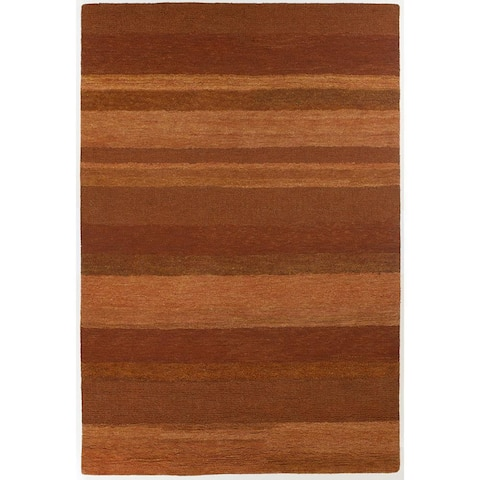 Artist's Loom Hand-tufted Casual Stripes Wool Rug - 6' x 9'