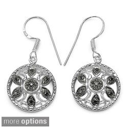 Malaika Sterling Silver 1/5ct TDW Blue or Black Diamond Dangle Earrings