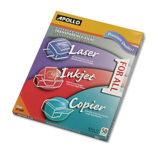 Apollo Color Laser/Inkjet Transparency Film with o Sensing Stripe Letter Clear 50/Box