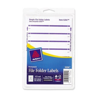 Purple Avery Print or Write File Folder Labels 3-7/16